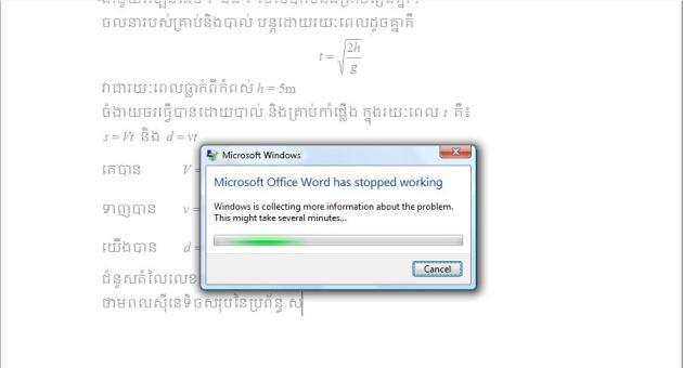 error ពេលកំពុងប្រើ MS Word 2003