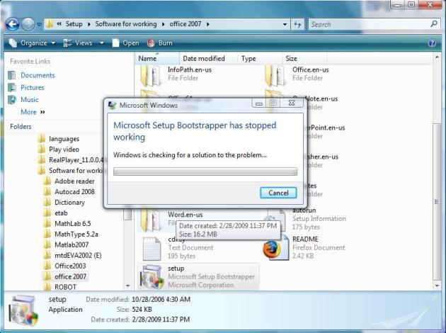 error ពេល install Office 2007